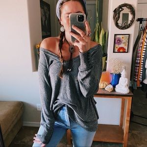 Gray cozy sweater shirt charcoal off the shoulder